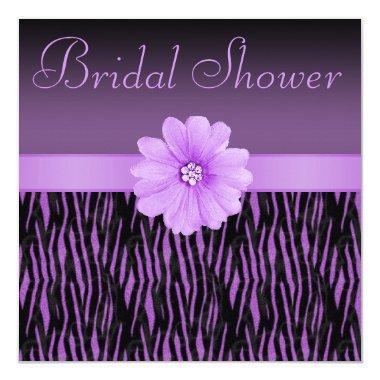 Purple Zebra Stripes Bling Flower