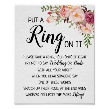 Put a Ring on it bridal shower wedding game sign
