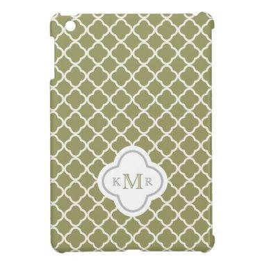 Quatrefoil Olive Green Pattern Stylish Monogram Case For The iPad Mini