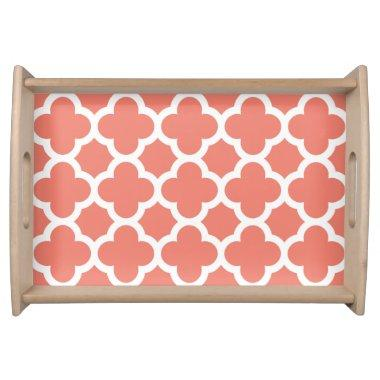Quatrefoil Serving Tray Coral Pattern