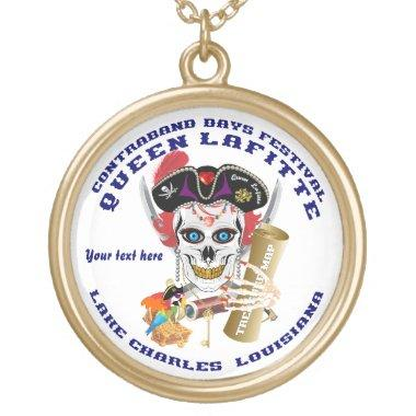 Queen Pirate Lafitte Round View About Design Gold Finish Necklace