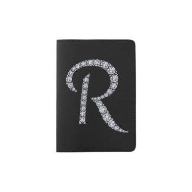 R monogram bling passport holder