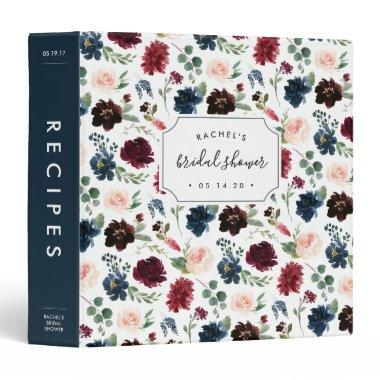 Radiant Bloom Bridal Shower Recipe 3 Ring Binder
