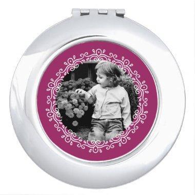 Raspberry Fancy Swirls Frame Custom Photo Mirror For Makeup