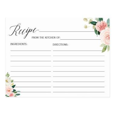 Recipe Invitations for the Bride Blush Pink Floral