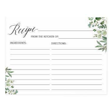 Recipe Invitations for the Bride Chic Eucalyptus Leaves
