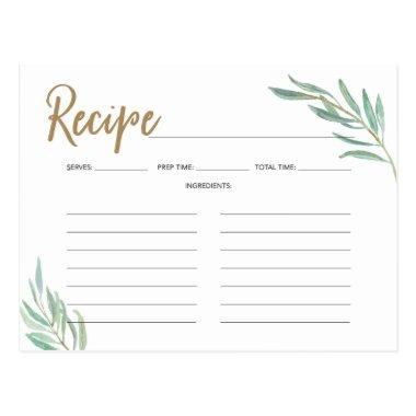 Recipe Invitations -Rustic Greenery Bridal Shower Recipe
