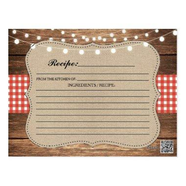 Recipe Wedding Bridal Party Invitations Red Check