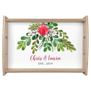 Red and Green Mistletoe Personalized Family Party Serving Tray