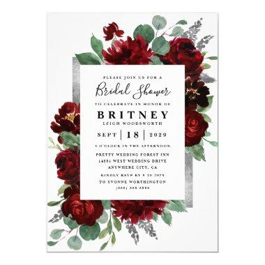 Red and Silver Country Burgundy Rose Bridal Shower Invitations