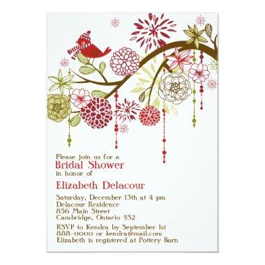 Red Bird Whimsical Winter Bridal Shower Invitations