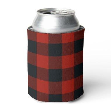 Red & Black Checkered Squares Buffalo Plaid Can Cooler