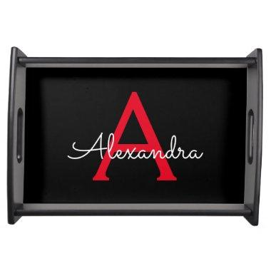Red Black Script Girly Monogram Name Serving Tray