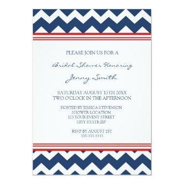 Red Blue Chevron Bridal Shower Invitation Invitations