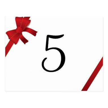 Red Bows Winter Wedding Table Number Post