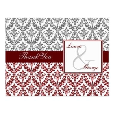 red damask wedding Thank You PostInvitations