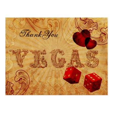 red dice Vintage Vegas Thank You PostInvitations