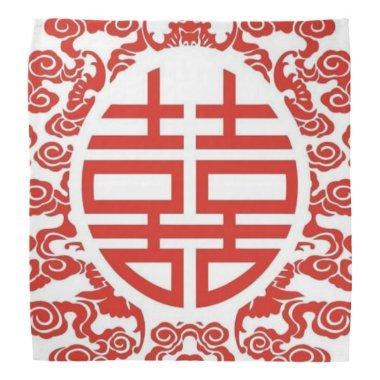 red double happiness modern chinese wedding bandana