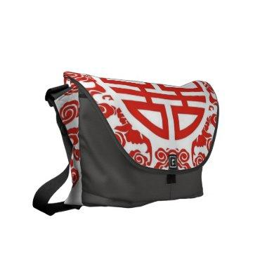 red double happiness modern chinese wedding messenger bag