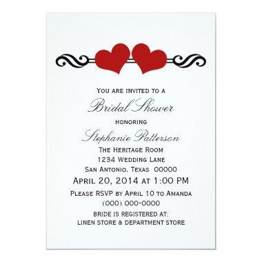 Red Elegant Hearts Bridal Shower Invite