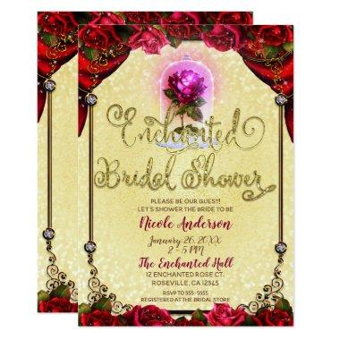 Red Enchanted Rose Beauty Bridal Shower Invitations