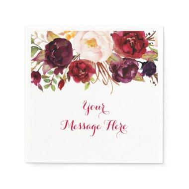 Red Floral Marsala Fall  Napkin