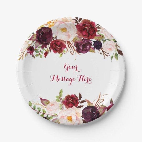 180 red floral marsala fall bridal shower paper plate