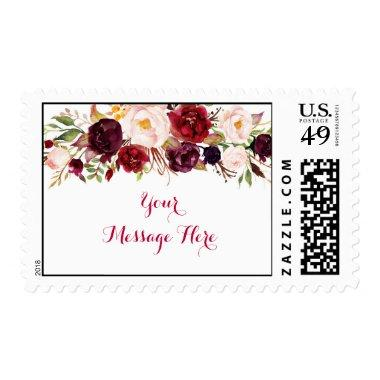 Red Floral Marsala Fall  Postage