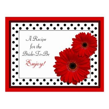 Red Gerbera Daisy Recipe Invitations for the Bride to Be