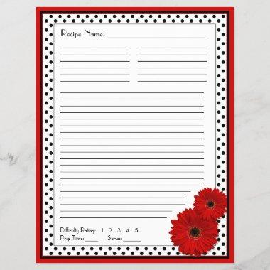 Red Gerbera Polka Dot Binder Recipe Inserts