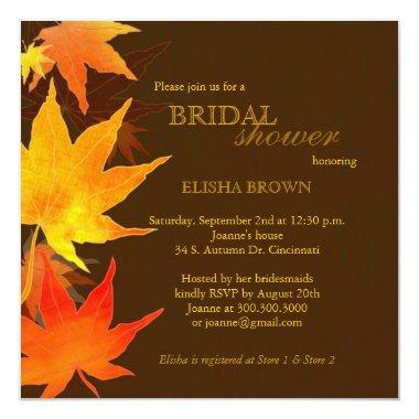 Red Gold Fall Maple Leaves Bridal Shower Invitations