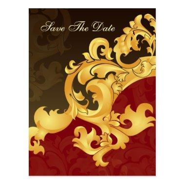 red gold save the date announcement postInvitations