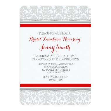 Red Gray Damask Bridal Lunch Invitation