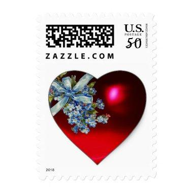 RED HEART,BOW AND FORGET ME NOTS WEDDING PARTY POSTAGE
