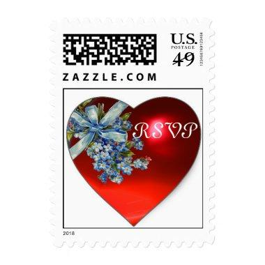 RED HEART & FORGET ME NOTS WEDDING PARTY RSVP POSTAGE