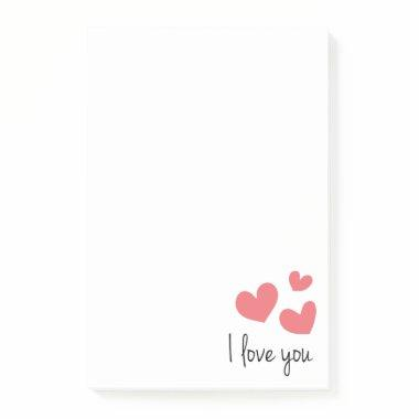 Red Hearts Love You Wedding, Party,  Post-it Notes