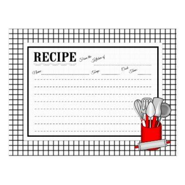 Red Kitchen Utensil Caddy Rolling Pin Recipe Invitations