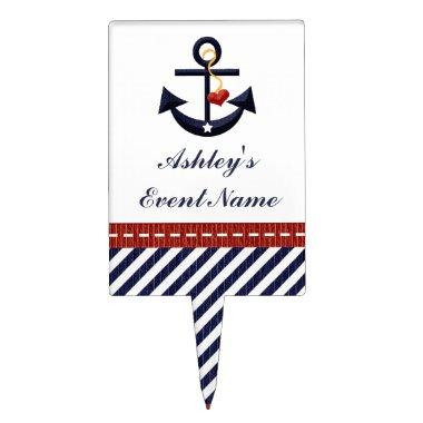 Red Navy Blue Anchor Nautical Cake Pick Topper