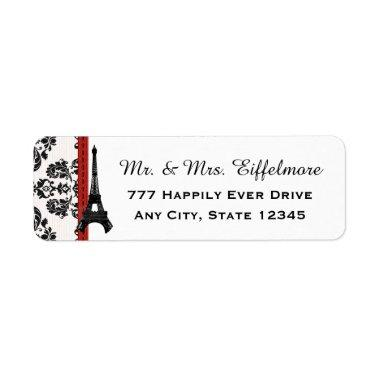 Red Parisian Damask Eiffel Tower Label