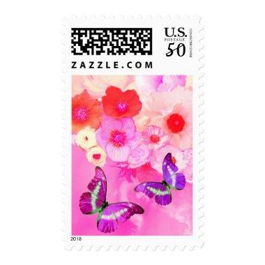 RED PINK ROSES,ANEMONE FLOWERS AND BUTTERFLIES POSTAGE