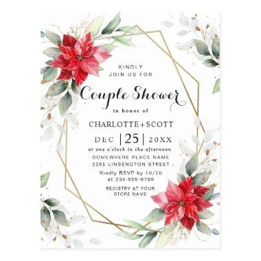 Red Poinsettia Floral Bridal Shower Invitations