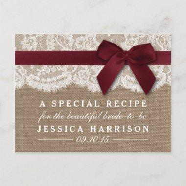 Red Ribbon On Burlap & Lace Bridal Shower Recipe Invitation PostInvitations