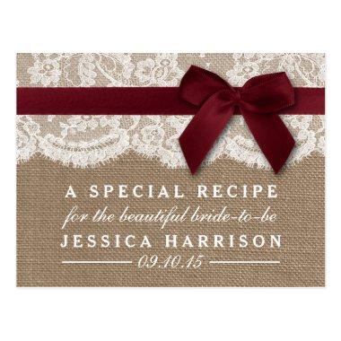 Red Ribbon On Burlap & Lace  Recipe Post