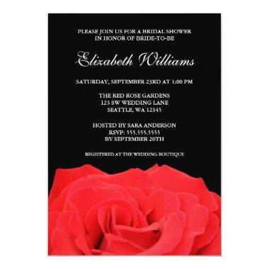 Red Rose and Black Bridal Shower Invitations