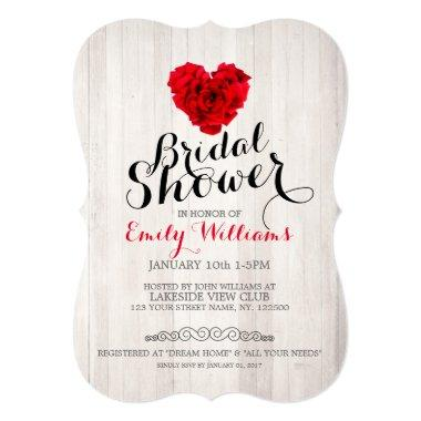 Red rose bridal shower Invitations