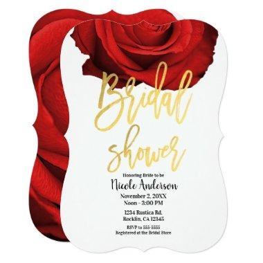 Red Rose Gold Script Modern Trendy