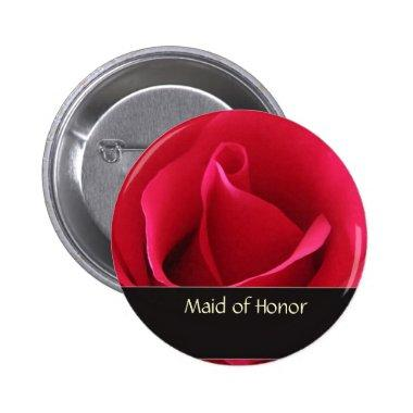 Red rose maid of honor wedding pin