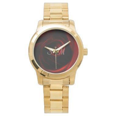 Red Rose wedding monogram Wristwatch