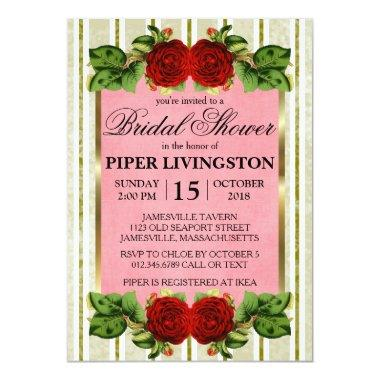 Red Roses Gold Stripes Bridal Shower Invitations