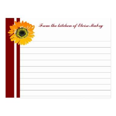 Red Stripes Sunflower Personalized Recipe Invitations